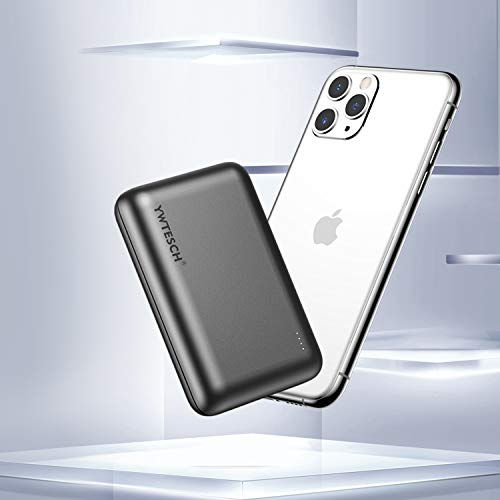 YWTESCH Batería Externa 20000mAh, Power Bank Cargador Portátil, 2 Salida USB-A y 1 Entrada Type-C, Aleación de Aluminio, Mini Powerbank(Gris) Compatible con iPhone/Huawei/iPad/Android
