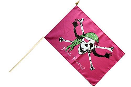 Stockflagge / Stockfahne Pirat Pirate Princess Prinzessin + gratis Sticker, Flaggenfritze®