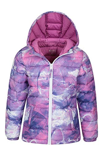 Mountain Warehouse Seasons Padded Kids Jacket - Water Resistant & Lightweight Insulated Rain Coat for Boys & Girls - Great for Autumn, Winter, School or Travelling Lilac 5-6 Years