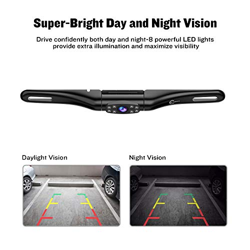 New License Plate Frame Backup Camera Car Rear View Waterproof 8 Infrared LED High Sensitive Night Vision Wide Viewing Angle 175/°Vehicle Universal Reversing Parking Aid System