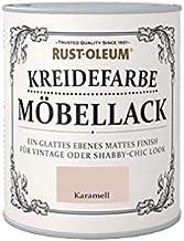 Rust-Oleum Kreidefarbe Möbellack, auf Wasserbasis, hohe Ergiebigkeit, kein Schleifen oder Grundieren, Karamell,750ml
