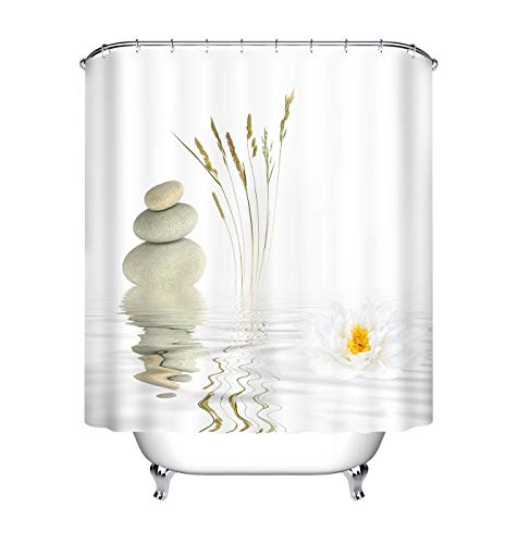 UDFK Zen Stones Lotus Flower Peaceful Water Shower Curtains For Bathroom, Indian Meditation Design Decor For House, Fabric Shower Curtain Waterproof 60X72 Inch