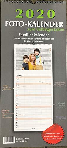 Familienkalender Bastelkalender Fotokalender 2020 zum selbstgestalten 22x48cm