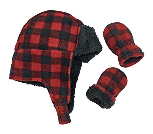 N'Ice Caps Little Boys and Baby Buffalo Plaid Fleece Trooper Hat Mitten Set (6-15 Months, Red Infant)