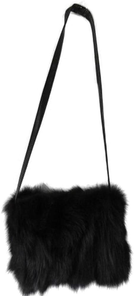 Women's Fox Fur Purse Handbag Crossbody Black Leather Hand Muff