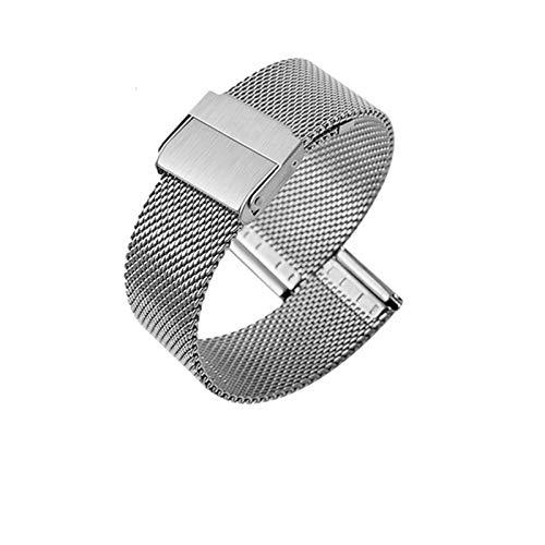 LYDBM Reloj Banda de Acero Correa de Malla Forwatch Banda Metal Pulsera de Acero Inoxidable Universal Ultrafino Ultrafino 10-22 mm (Color : Plata, Talla : 22mm)