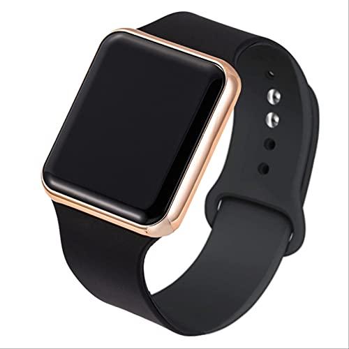 QWYU 2pcs Deporte Led Digital Reloj Hombres Mujeres Relojes Deportivos Silicona Electrónico Reloj Hombres Pareja Relojes Reloj Negro Oro Rosa