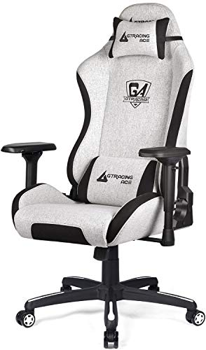 Gtracing Ergonomic Gaming Chair Fabric Racing Office Computer Chair High Back Gaming Desk Chair 4D Adjustable Arms Heavy Duty Swivel Recline Big and Tall Beige