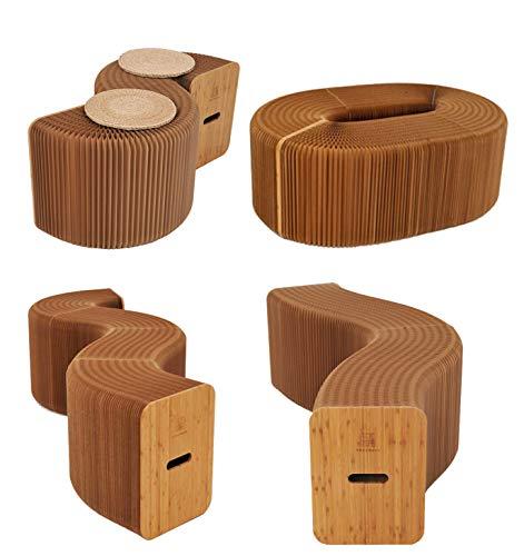 AlienTech Wohnmöbel Weiche Sitzmöbel Modernes Design Akkordeon Faltpapier Hocker Sofa Stuhl Kraftpapier Entspannender Fuß Hocker-Mode Papier Design, Ideal für Schule, Küche, Wohn- & Esszimmer (Braun)