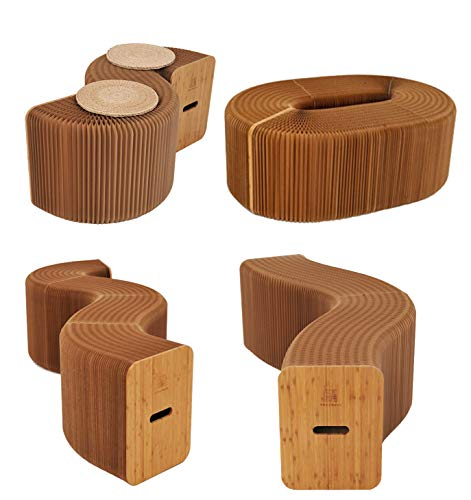 AlienTech Home Furniture Softeating Modern Design Accordin Folding Paper Stool Sofa Chair Kraft Paper Relaxing Foot Stool-Fashion Paper Design, Ideal for School, Kitchen,Living & Dining Room