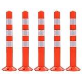 vidaXL 5x Bolardos de Control de Tráfico Plástico 75 cm Señales Advertencia