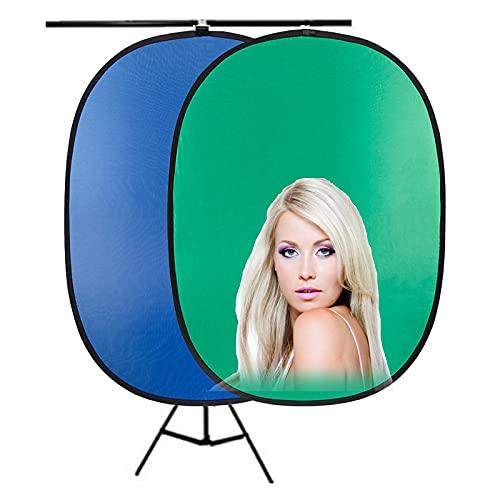 HLDUYIN Fondo De Pantalla Verde PortáTil Fondo Azul Y Verde 2 En 1, Pantalla Verde Plegable Emergente con Soporte Kit, FotografíA De Productos Y GrabacióN De Videos, Etc,1.2 * 1.8m