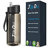 FilterOne Personal Water Filter Bottle & Built-in Compass, BPA Free Portable 2-Stage Integrated Personal Filter Straw for Hiking Camping Survival or Emergency, Leakproof Reusable Straw (Black)