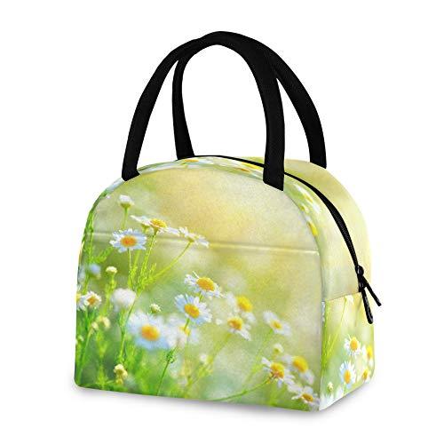 RELEESSS - Bolsa térmica para el almuerzo con diseño de margaritas y flores, reutilizable, para mujeres, hombres y niñas