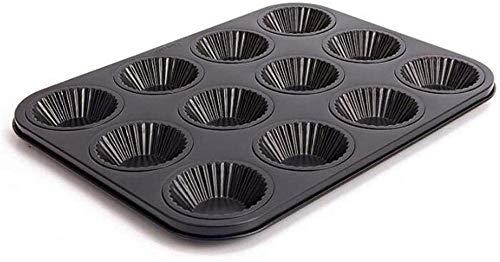 12 Cup Mini Wave Kant Bloem Vorm Tart Pan Anti-aanbakplaat Quiche Bakken Pan Bakken Cookie Cake Cupcake Mold Gereedschap Metalen Muffin Lade Rechthoek Bakwaren Pan DIY Chocolade Bakvorm Schaal