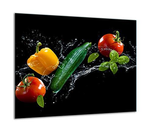 TMK - Placa protectora para cubrir la vitrocerámica de 60 x 52 cm de una sola pieza, para inducción, protección contra salpicaduras, placa de cristal, tabla de cortar, color negro
