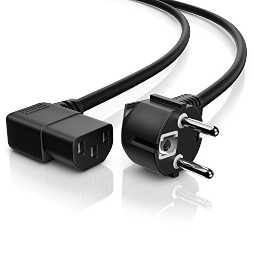 CSL - Cable de alimentación para aparatos de Baja tensión acodado en Ambos Lados - Cable para aparatos de Baja tensión- Cable de Red - Tipo de Enchufe de Seguridad Tipo F, CEE 7 7 y conexión 2