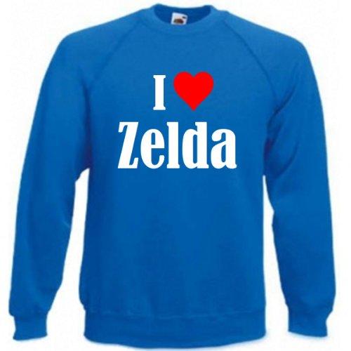 Reifen-Markt Sudadera I Love Zelda para mujer, hombre y niños en los colores negro, blanco y azul con impresión azul XL