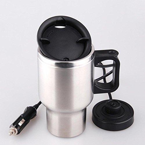 Elektrischer Edelstahl-Becher-Heizungs-Schalen-Wasserkocher Isolierter Wasser-Heizung 450ml mit Aufladeeinheit , 12 V