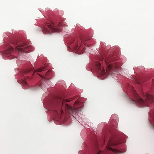 DYL&CDAI Lint (1 st) 3D Chiffon Cluster Bloemen Bruidsjurk Bruidsstof Kant Trim Stof DIY Applique Trimmen Naaibenodigdheden