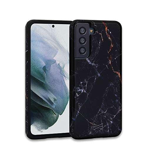 TORU DX Slim Compatible with Samsung Galaxy S21 5G Case - Protective Dual Layer Hybrid Case with Flexible Soft TPU Bumper Shell & Glossy Stone Pattern Hard Cover -Black Marble