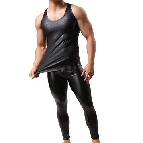 Camiseta de tirantes de piel sintética para hombre, sexy, sin mangas, para hombre