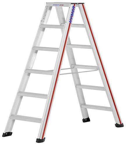 Hymer 602412 Stufenstehleiter 2x6 Stufen (beidseitig begehbar, Spreizsicherung, große Leiterschuhe, Standhöhe ca. 0,91 m)