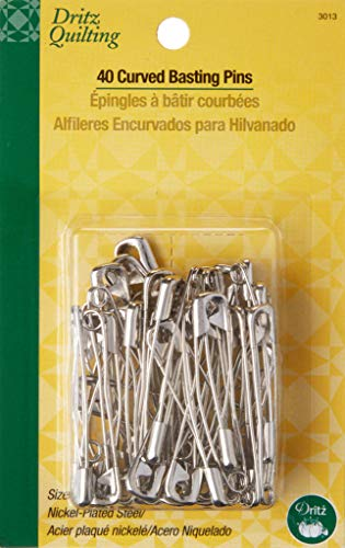 Dritz 3013 Curved Basting Safety Pins, Size 3 (40-Count)