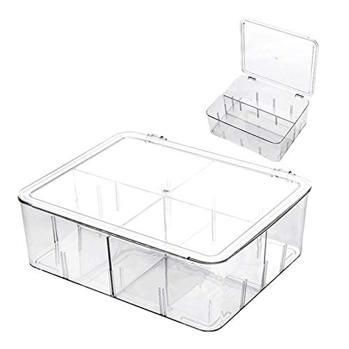 Food Storage Containers Clear Plastic Refrigerator Storage Containers with Adjustable Divider BPA Free Organizer for Food Fresh Vegetables and Meat