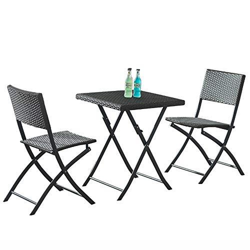 Sofa stool Brisk - rattanowy składany stół na zewnątrz i krzesło przenośny 2-osobowy kwadratowy biurko z 2 składanymi krzesłami na balkon, dziedziniec, taras, krzesło wypoczynkowe (kolor: Czarny)