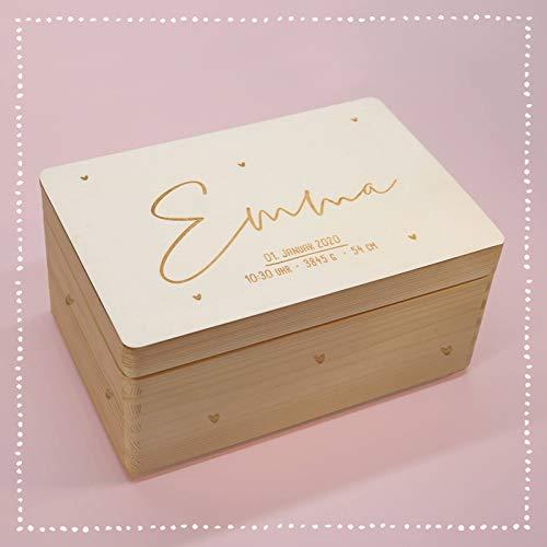 Personalisierte Erinnerungsbox Box Aufbewahrungsbox Erinnerungskiste mit Namen Holzkiste für Kinder Geschenkbox Junge Mädchen Herzkind Weihnachten Geburtstagsgeschenk Einschulung hellomini