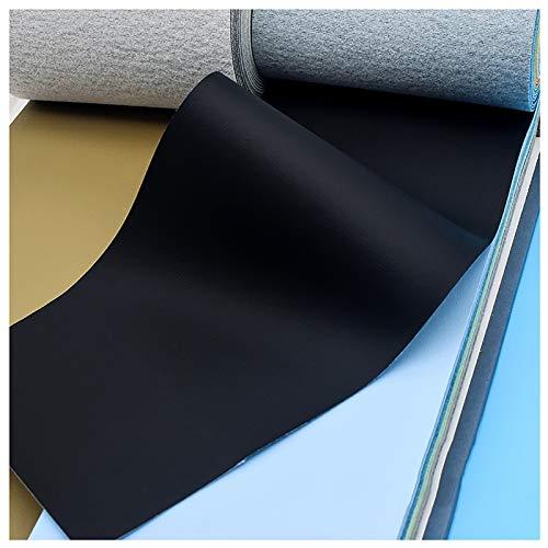 Tessuto in Ecopelle Solido al Metro per Artigianato da Tappezzeria Cucito Fai da Te Crafting Divano Portafoglio Che Fa 0,72 Mm di Spessore, 137x100 Cm, Retro in Cotone(Color:#50 Black)