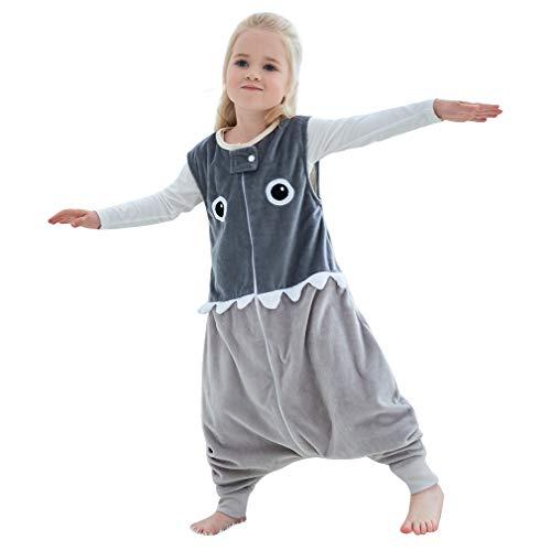 MICHLEY Baby Schlafsack mit Füßen, mädchen und Junge Schlafstrampler Vierjahreszeiten,Grau 2-4 Jahre