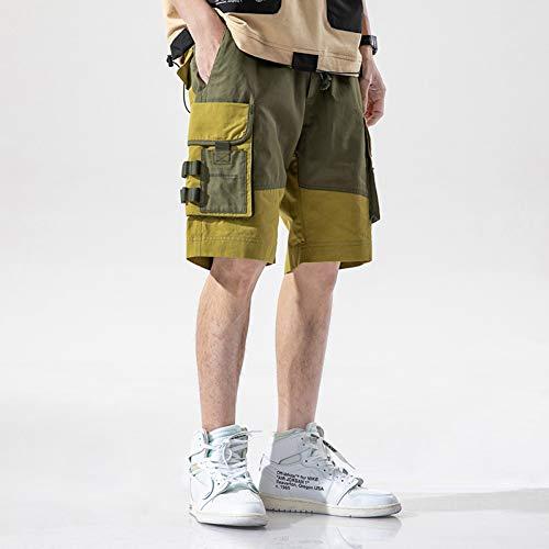 BGGWY Short Harem Cargo Short Homme d'été Poches d'été Lettre Imprimer Hommes Cargo Shorts Coton Streetwear Harajuku Hip Hop Homme Poches Pantalon Court Pantalon de Survêtement