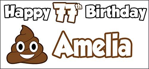 Personalised Emoji Poo Poop Happy 77th Birthday Banner - Poster - Party Decorations - Ladies - Mens - Boys - Girls - Husband - Wife - Son - Daughter - Mum - Dad - Friend - Nan - Grandad (Pack of 2)