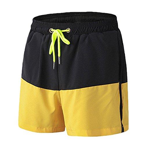 ZongSen Homme Short Sport Compression Base Layer Pantalon Leggings Court Tight Fitness Entraînement Cyclisme Noir Jaune L