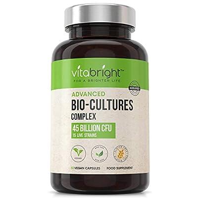 Bio Cultures Probiotics 45 Billion Live CFUs Advanced Multi Strain Complex | 15 Active Bacteria Strains, Includes Acidophilus & Bifidobacterium | Vegetarian Max Strength Capsules by VitaBright