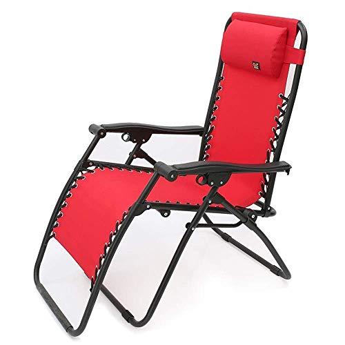 Bequemes Sofa Klappbarer Sonnenliegen Stuhl Liegender Strand Rasen Camping Tragbarer Stuhl Gartenstuhl Mit Nackenkissen Unterstützung 200 kg (Farbe: Rot)