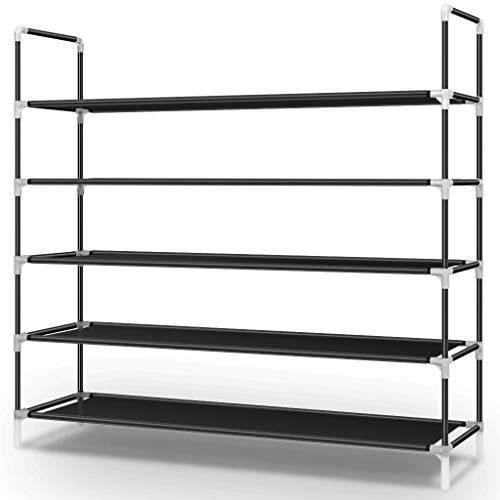 Awenia 5 Tiers Shoe Rack Organizer 30 Pairs,Adjustable Shoes Shelf Tower Metal Tall for Closet with Spare Parts,DIY Assembly, Black