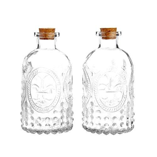 MyGift Vintage Design Embossed Clear Glass Bottles, Apothecary Flower Bud Vase with Cork Lid, Set of 2