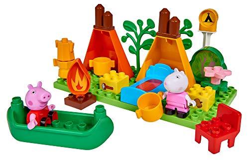 BIG Peppa Pig Camping Set Peppa´s Campingausstattung, Construction Set, BIG Bloxx Set bestehend aus Peppa Wutz und Suzy und Camper Set, 25 Teile, für Kinder ab 18 Monaten