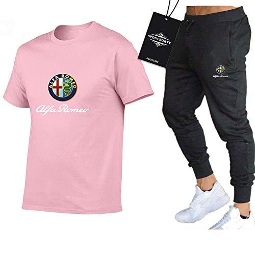 MAUXpIAO Männer Und Frauen T-Shirt Trainingsanzug Einstellen Zum Alfa-RoMeo Zwei Stück Lange Hülse Tee Hose Sportkleidung Oben Kapuzenpullover Kinder/pink/L