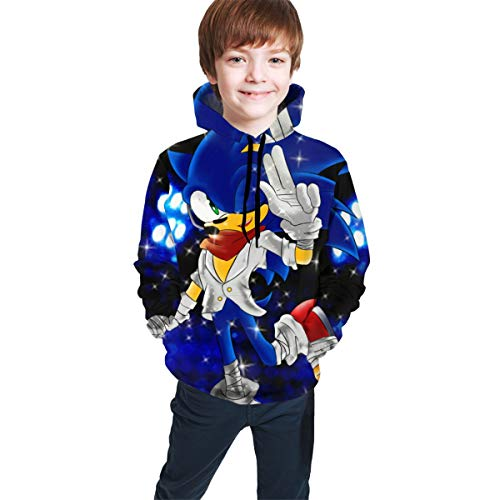 Teens Boys Girls Hip-Hop 3D Design Long Sleeve Outerwear, Sonic Boom Dreamboat Express Fan Art Hoodie, Autumn Warm Hooded Pullover Clothing for Baseball Holiday Party