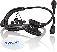 MDF Acoustica Lightweight Stethoscope, Adult, Dual Head, Free-Parts-for-Life, Black Tube, Black Chestpiece-Headset, MDF747XPBO