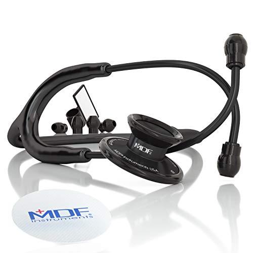 MDF Instruments MDF747XP Acoustica® Deluxe, Estetoscopio ligero de doble cabeza - Garantía de por vida & Programa-piezas-gratuitas-de-por-vida (Todo Negro)