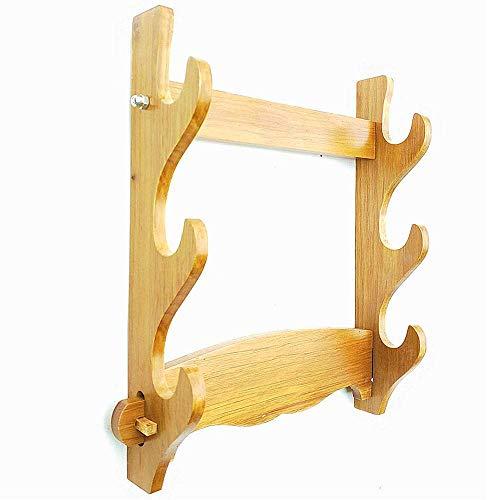 Compatibile con la maggior parte delle spade da samurai. Materiale: legno massello La parte posteriore ha due fori che lo supportano. Display domestico, soddisfa una maggiore domanda di esposizione artigianale.Facile da montare e utilizzare. Dimensi...