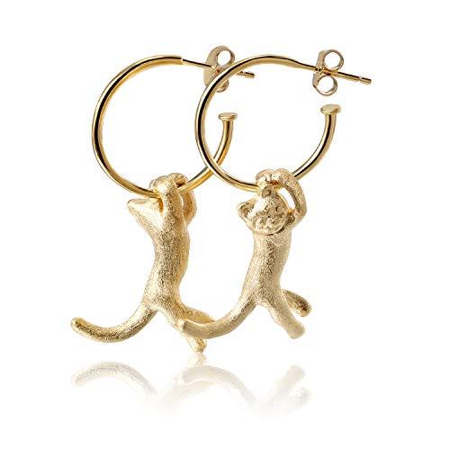 ♥ Regalo para ti♥ Springlight S925 Pendientes colgantes de plata esterlina con lindo gato Kung...