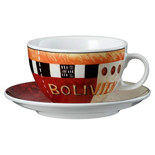 Seltmann Weiden 001.648057 VIP. Bolivien Milchkaffeetasse 0,37 L mit Untertasse, Rot/Orange/Schwarz