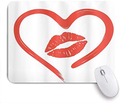 Rechteckiges Mauspad, Herz gezeichnet in Lippenstift Lippenromanze Leidenschaft und Zärtlichkeit Nachricht, Tischsets, Gaming Office Dekor, 9,5 x 7,9 Zoll