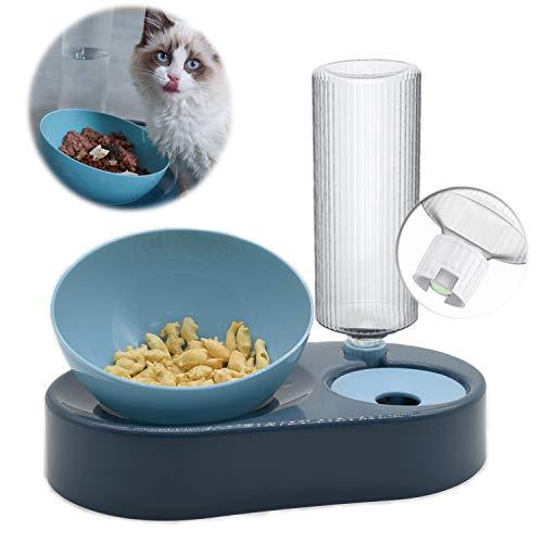 Comedero para Perro Gato,Cuenco Doble para Mascotas,Comedero Automático para Mascotas y Dispensador de Agua Azul 2 en 1,para Mascotas,Perros,Gatos,con Cuencos de Acero Inoxidable